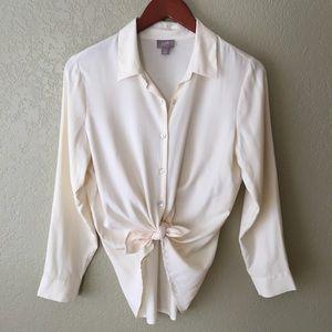 J. Jill 100% Silk Cream Button Down Dress Shirt